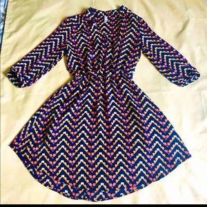 Xhiliration Navy Print Dress